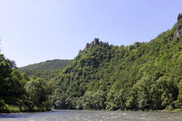 Ruin of Old Castle above river Vah near Castle Strecno, Slovakia