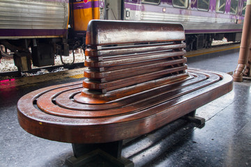 Wood chair at Railway station.Thailand.