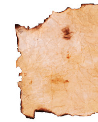 Old paper with the burned edges