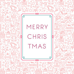 Christmas greeting card with line icon decorative elements.