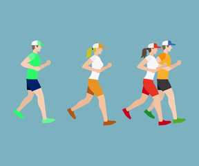Run man and woman flat icons on blue background. Vector illustration