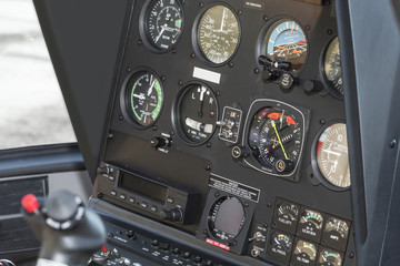 The dashboard panel in a helicopter cockpit, the view of the aircraft instruments