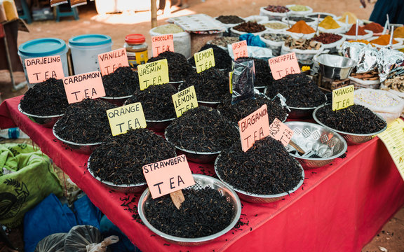 Indian tea and spices at Anjuna flea market in Goa, India.