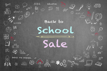 Back to school sale advertisement on black chalkboard encircled by freehand doodle sketch drawing: Sketchy doodles drawn on blackboard with texts announcement of back to school sale