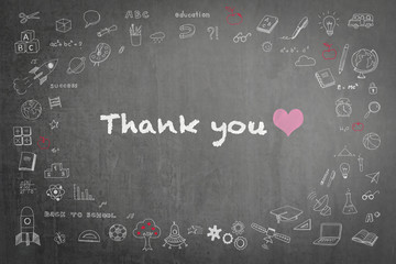 Thank you with pink heart and smiley icon text announcement on teacher black chalkboard background with freehand sketch doodle pastel color chalk drawing: School blackboard with gratitude message