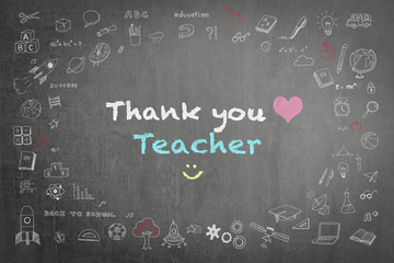 Thank you teacher with pink heart and smiley icon text announcement on black chalkboard background with freehand sketch doodle pastel color chalk drawing: School blackboard with gratitude message