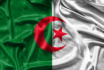 Closeup of silky Algerian flag