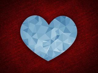 art blue polygon heart on grunge red illustration background