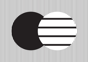 Circle design in black and white vertical stripes on horizontal strips background; backdrop and wallpaper