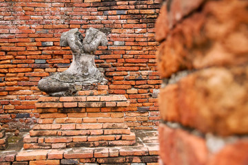 Ayutthaya,Thailand, - September, 07, 2016 : Damaged buddha statu