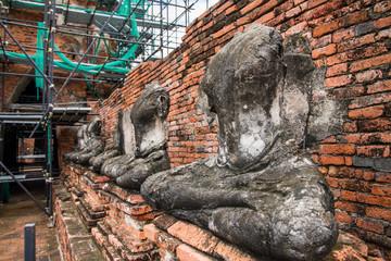 Ayutthaya,Thailand, - September, 07, 2016 : Damaged buddha statu