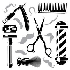 Set of vintage barber shop tools