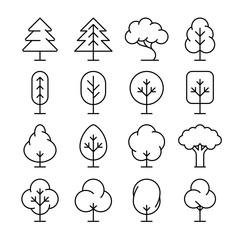 Tree thin line vector icons set