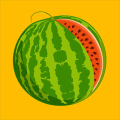 Ripe juicy watermelon on a yellow background. Vector illustration
