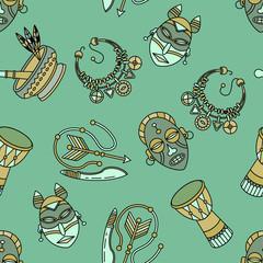 Seamless pattern with voodoo symbols.