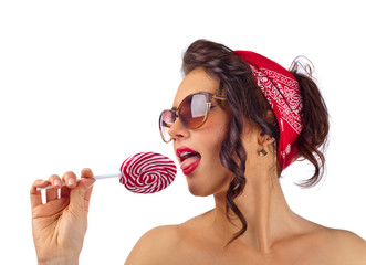 young beautiful woman with candy
