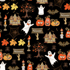 Vector seamless hand drawn  pattern with isolated Halloween symbols on black color