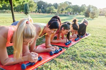 Women doing endurance exercise in the park