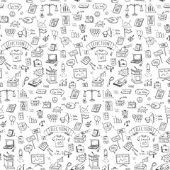 Seamless pattern hand drawn doodle Vote icons set. Vector illustration. Election symbols collection. Cartoon various voting elements: hand putting paper in the ballot box, speaker, scale, calendar