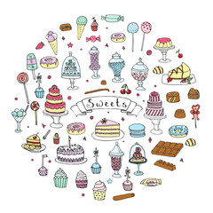 Hand drawn doodle Sweets set. Vector illustration. Sketchy Sweet food icons collection. Isolated desert symbols: Cupcake, Macarons, Chocolate bar, Candy, Cake, Pie, Pastry, Lollipop, Pastry.