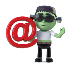 3d Child frankenstein monster has an email address symbol