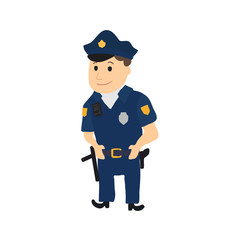 Cartoon policeman character on white background. Vector
