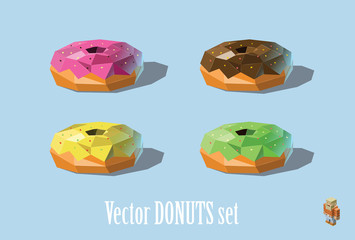 Vector set illustration of donuts; chocolate, strawberry, mint, mellon