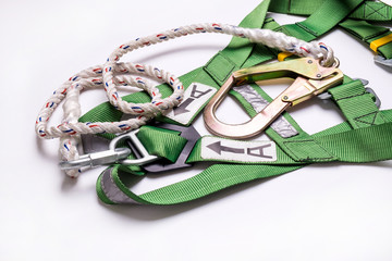fall protection harness and lanyard for work at heights on white