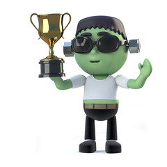 3d Child frankenstein monster wins the gold cup trophy award