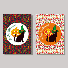 """Black cat in witch hat, pumpkin and hand drawn text """"Happy Halloween!"""". Halloween greeting card. Vector clip art."""