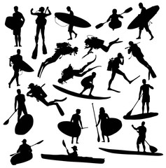 Silhouette Hobby and Sports Activities Canoe Surfing and Scuba Diving Underwater, art vector design