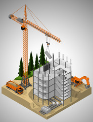 Vector isometric illustration of the construction site and technique involved in the construction. Tower crane, truck and crawler excavator.