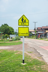 School sign,Traffic sign road in village