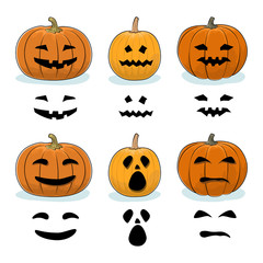 Set of Carved Scary Halloween Pumpkins, a Jack-o-Lantern, Pumpkin Carving Stencil Templates, Vector Illustration