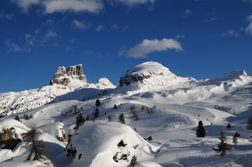 Monte Averau in winter, the highest mountain of the Nuvolau Group in the Dolomites, located in the Province of Belluno, Veneto, northern Italy