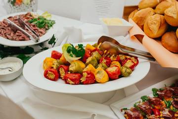 Foto op Canvas Assortiment catering essen hochzeit