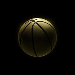 golden basketball on black background