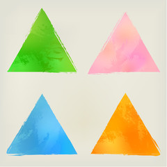 Watercolor triangle shape splashes, green, blue, orange, pink.