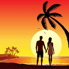 The couple on holiday in summer tropical ocean sunset