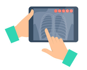 Doctor holding a tablet computer with lung radiography. Telemedi