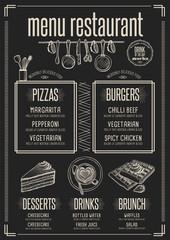 Menu restaurant, food template placemat.