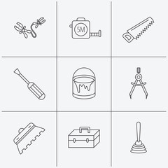 Screwdriver, plunger and repair toolbox icons.