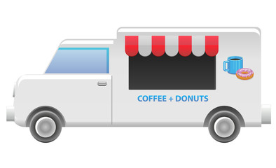 Coffee and donut food truck vector image
