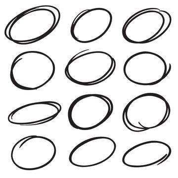 hand drawn vector marker circles