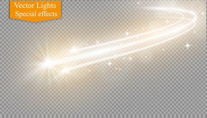 Abstract vector magic glow star light effect with neon blur curved lines. Sparkling dust star trail with bokeh.