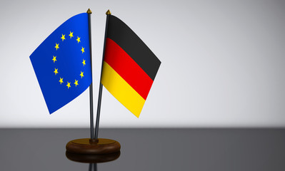 German And European Union Desk Flags