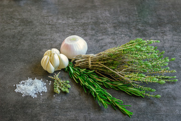 Spices: rosemary, thyme, sea salt, garlic and onions.