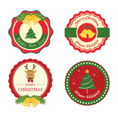 Christmas sale vintage style. Vector background and label.