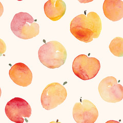 watercolor simple red and yellow shades apple seamless pattern
