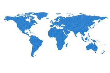 world map and binary code